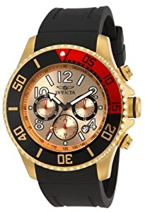 Invicta Men's Quartz Watch with Gold Dial Chronograph Display and Black PU Strap 15146