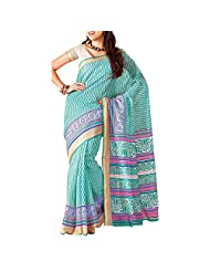 Saree dotcom Art Silk Saree (Light Blue) - B00M3T24AA