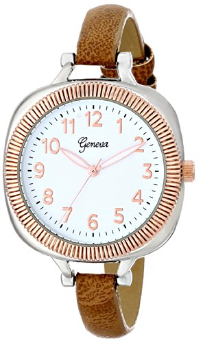 Geneva Women'S 2392C-Gen Watch With Brown Band