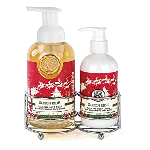 Michel Design Works Caddy with Lotion and Foaming Hand Soap Set, Sleigh Ride