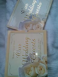 Wedding Guest Book, beautiful gold-stamped letters on front cover, protective in laminated full color. Ivory-toned book has pictures of gorgeous ivory roses. Over 100 pages, with 26 spaces per page for guests to sign. Several romantic poems scattered thro