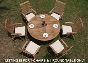 "New 5 Pc Luxurious Grade-A Teak Dining Set - 60"" Round Table And 4 Reclining Arm Chairs [Model:MRc]"