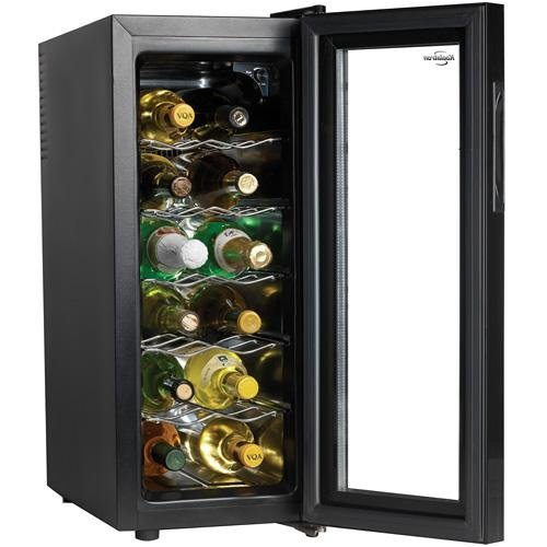 New Koolatron WC12G Slim Countertop 12-Bottle Thermoelectric Wine Cellar, Black