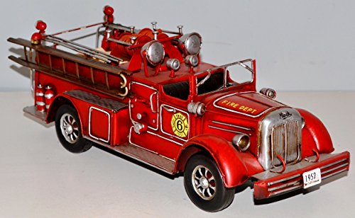 Fire Engine Red to 1950 Tin Blechfeuerwehr Blechmodell Tin Model Vintage Fire Truck 37289 37 CM