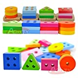 ACOOLTOY-Wooden-Geometric-Stacker-Shape-Sorter-Column-Puzzle-Building-Block-Set-Early-Learning-for-Kids-18-months-to-3-Years-Old
