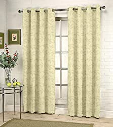 Fabutex Eyelet Woven Polyster Jacquard Door Curtain - 46x84 inches, Cream