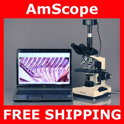 40X-2000X Trinocular Compound Microscope + 10 MP Camera Compatible w/ Windows & Mac OS 10