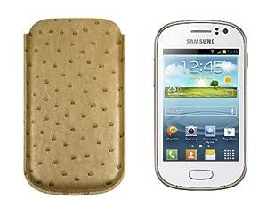 Lucrin - Tasche für Samsung Galaxy Galaxy Fame - Echtem Straussenleder - Beige