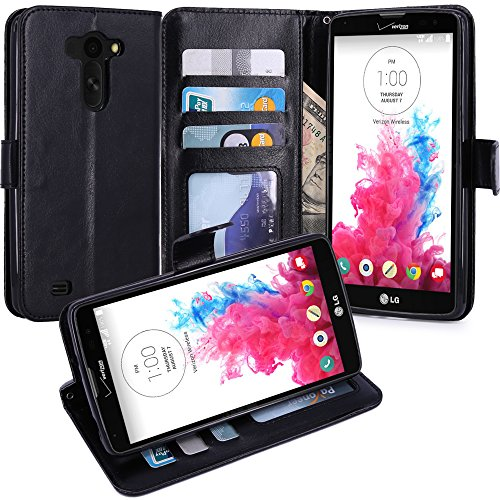 LG G Vista Case, LK [Kickstand Feature] LG G Vista Wallet Case, Luxury PU Leather Case Flip Cover Built-in Card Slots Stand For LG G Vista, Black (Phone Case For Vista Lg compare prices)