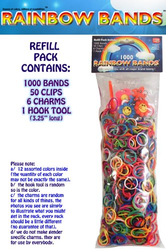 Rainbow Bands TM 1000 Rubber Band Refill Bundle Pack (12 assorted mixed colors) with 50 Clips + 6 Charms + 1 Hook Tool - Fully Compatible with all LOOM Kits - 1