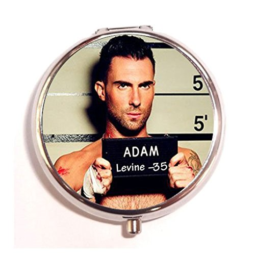 Adam-Levine-Custom-Round-Silver-Pill-Box-Pocket-2-inches-Medicine-Tablet-Holder-Organizer-Case-for-Purse