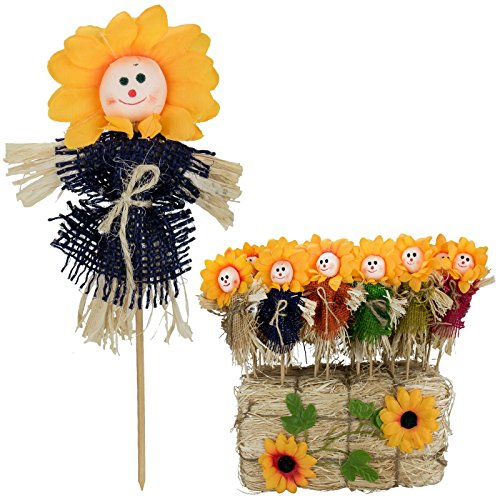 22cm-sunflower-face-plant-pot-scarecrow-stick-straw-wooden-stake-cute-novelty-decoration-keen-garden