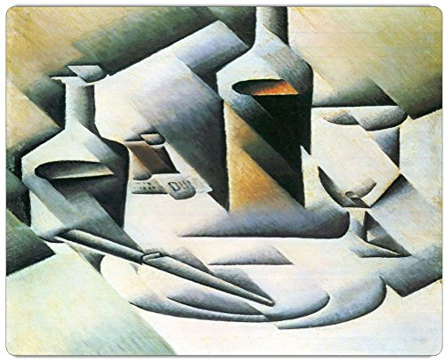 "Rikki Knighttm Juan Gris Art Still Life With Bottles And Knives Design On 10"" X 8"" High Definition Museum Quality Almunimum Print - Metal Art Print - With Floating Block Wall Hangers (Proudly Made In The Usa)"