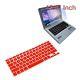 Premium Red Soft Silicone Keyboard Skin Cover + 13.3 inch Clear screen Protector for Apple Macbook/Air 13.3 inch Laptop