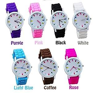 Moonar® Moda Simple dulce estilo colorido marcar números hueco fuera puntero azúcar Color goma silicona jalea hielo reloj reloj de pulsera reloj de pulsera mujeres Lady chica vestido reloj de pulsera marca Moonar