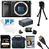 Sony Alpha a6000 Sony a6000 ILCE6000/B ILCE6000 24.3 Interchangeable Lens Camera - Body only BUNDLE with 64GB Class 10 Card, Spare Battery, Deluxe Padded Case, Micro HDMI Cable, DVD SLR Guide, SD Card Reader, and MORE