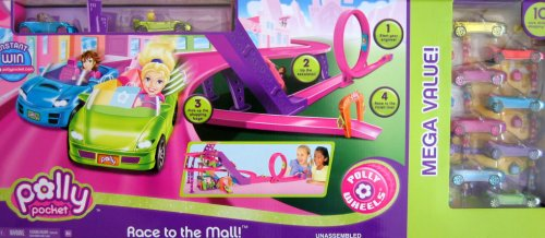 Buy Low Price Mattel Polly Pocket – Race To The Mall Playset – 10 Cars & 10 Figures Mega Value Collection (B00118RP94)