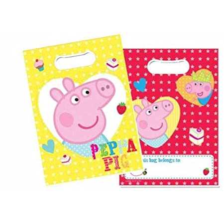 Send your little piggies home from their Peppa Pig birthday party with a huge slice of birthday cake in one of these colourful Peppa Pig party bags.? Peppa Pig Theme Party Loot Bags - Pack of 8. Printed on both sides these plastic party bags feature ...