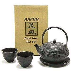 Japanese Cast Iron Pot tea set Black ARR w/ Trivet