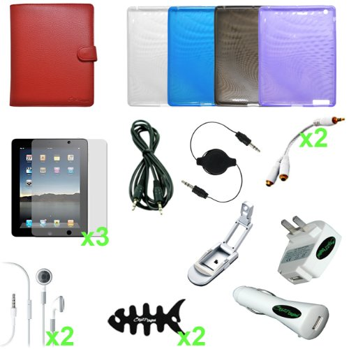 CrazyOnDigital Accessories Case Cover with Charger and Screen Protector for Apple iPad 2 (19-item). CrazyOnDigital Retail Package
