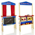 KiddyPlay 2 in 1 Wooden Puppet Theatr...