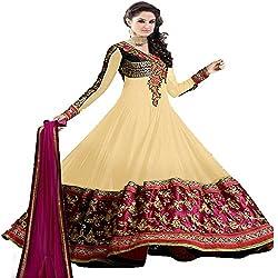 Prachi Silk Mills Women`s Georgette Embroidered Semi-stitched Salwar Suit Dupatta Material(Royal Beige Anarkali)