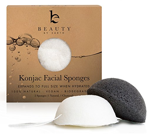 konjac-facial-sponge-pack-of-2-sponges-charcoal-black-natural-white-for-sensitive-to-oily-skin
