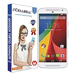 Cellbell Premium Tempered Glass Screen Protector for Motorola Moto G2 2nd Generation XT1068 (2.5D Curved Edges)(Clear)(Comes with Warranty)Complimentary Prep cloth-Bronze Edition