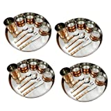 Dinnerware Accessories Copper Stainless Steel Large Dinner Plate Thali, Service For 4 Person, Diameter 30 Cm