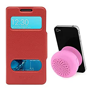 DMG Premium Flip Table Talk Stand Cover Case For Asus Zenfone 4 A400CXG (Red) + Bluetooth Suction Stand Speaker