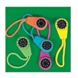 Fun Express Neon Compass On Cord (1 Dozen) - Bulk Toy