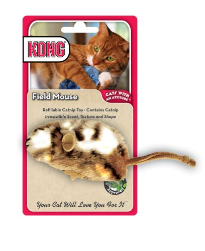 KONG Field Mouse Catnip Toy, Cat Toy, Tan