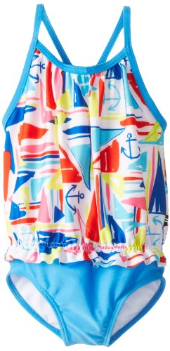 Nautica Little Girls' Fashion One Piece Swimsuit, Bright Royal, 3T back-1055102