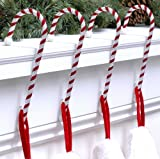 Candy Cane Stocking Holder - 4 Pack - Dark Red & White
