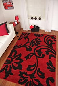 Toledo Red and Black Modern Scroll Soft Stylish Rugs 6058 by The Rug House
