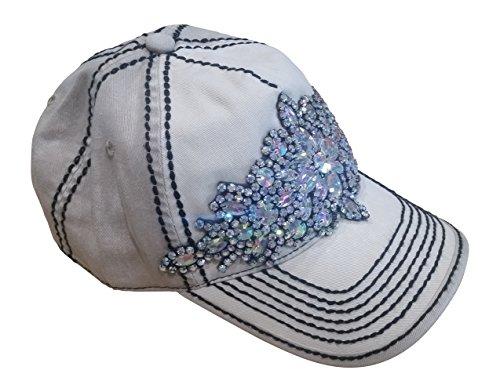 Olive & Pique Large Bling Gem Rhinestone Baseball Cap (One Size, Ivory/Beige/Grey) (Baseball Gems compare prices)