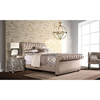 Hillsdale Furniture Upholstered Sleigh Bed (King: 84.25 in. L x 81.88 in. W x 47.5 in. H)