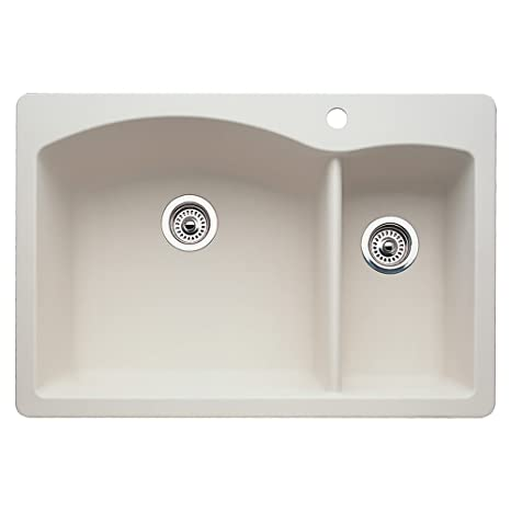 Blanco 511-640 Diamond 1-1/2 Bowl Kitchen Sink, Biscuit Finish