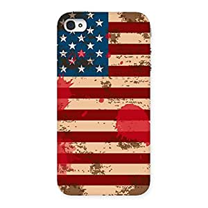 Stylish Grunge USA Flag Multicolor Back Case Cover for iPhone 4 4s
