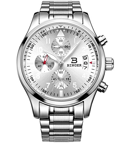 BINGER Mens Luminous Business Casual Quartz Wrist Watch with Stainless Steel Strap,Silver Dial (Men Steel Watch compare prices)