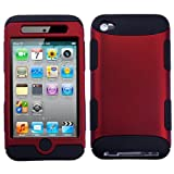 Hybrid Red/Black Total Defense Faceplate Hard Plastic Protector Snap-On Cover Case For Apple iPod Touch 4 (4th Generation)