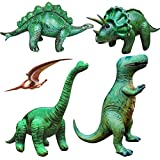 5 pieces of Large Inflatable Dinosaurs brachiosaurus(set of 5,Including brachiosaurus,pteranodon,stegosaurus,Triceratops,T-Rex),Large Inflatable Animals Toys for indoor and Outdoor Play