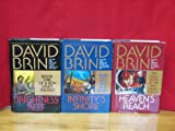 img - for Uplift Trilogy, complete series, books 1-3 by David Brin, Hardcover (Brightness Reef, Infinity's Shore, Heaven's Reach, The Uplift Trilogy is also known as, The New Uplift Trilogy, The Second Uplift Trilogy, and Uplift Storm Trilogy) book / textbook / text book