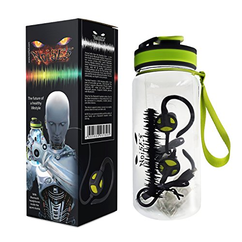 Noi5e5 Tritan Water Bottle and 4.1 Bluetooth Headphones Bundle - Flip Top, Leak Proof Lid with Insulated Sweat Resistant Hydration - Wireless In-Ear Earbuds Set for Exercise, Fitness, CrossFit