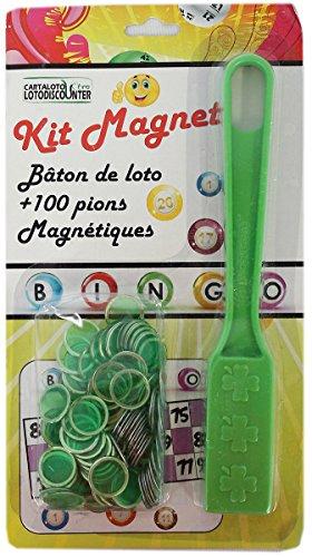 Bâton magnétique + 100 pions de loto bingo vert