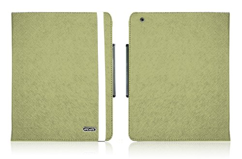 Green iPearl Leather Carrying Folia Cover Case for iPad 2, with Built-in Stand, hand strap and Touch Screen Stylus Pen for all 2nd Generation iPad 2 Tablet (3G / WiFi model 16GB, 32GB, 64GB)
