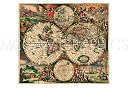 World Map 1689 By Vintage Reproduction Art Print Poster 13\