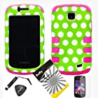 4 items Combo: ITUFFY LCD Screen Protector Film + Mini Stylus Pen + Case Opener + Green White Polka Dots Design Rubberized Hard Plastic + PINK Soft Rubber TPU Skin Dual Layer Tough Hybrid Case for Straight Talk Samsung Galaxy Proclaim 720C SCH-S720C / Verizon Samsung Illusion i110