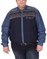 Xmex Men's Cotton Shirt (KR-702BLUE, Blue, XXXX-Large)