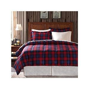 Premier Comfort MacLachlan Plaid Down Alternative Microfiber 3 Piece Comforter Set - Red Plaid - Twin
